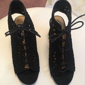 XOXO lace up wedge heel sandal